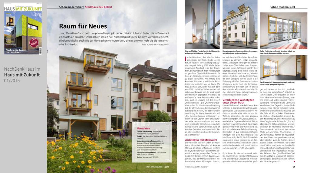Haus mit Zukunft zeigt das NachDenkHaus > download den Artikel als PDF